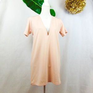 Missguided blush deep v collar mini dress